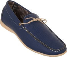 Zovi Blue Textured Casual With Tie-up Detailing Loafers