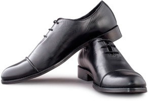 Walker Styleways Black Leather Formal Toe Cap Lace Up