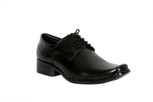 Trendystuff4u Black Synthetic Leather-072 Lace Up Shoes