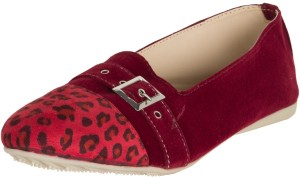 Zovi Red with Leopard Front and Buckle Ballet Casuals