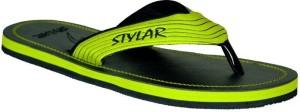 Stylar Neon Green and Black Virat II Flip Flops