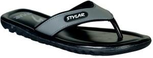 Stylar Grey And Black Stark Flip Flops