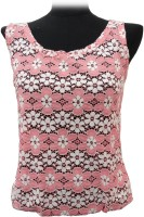 BK Black Casual Sleeveless Floral Print Women's Top