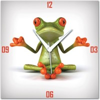 WebPlaza Zen Frog Analog Wall Clock Multicolor