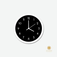 Osaree Round Shape two Layered Black and White Modern Analog Wall Clock Matte Black