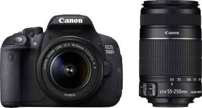 Canon EOS 700D with DSLR Camera (EF S18 - 55 mm IS II and EF S55 - 250 mm IS II)