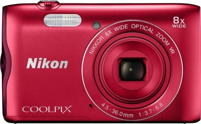 Nikon Coolpix A300 Point & Shoot Camera (Red)