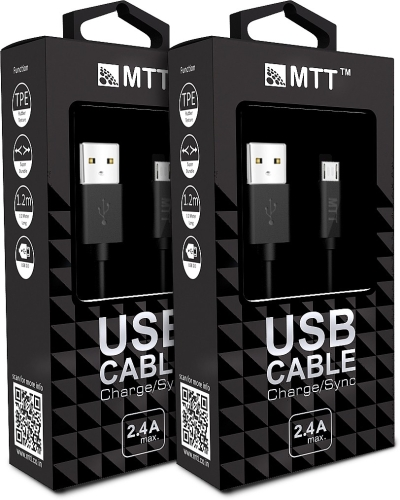 MTT 2 Pack 1.2 Meter TPE Black Micro USB Cable