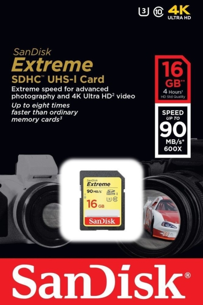 SanDisk 4K 16 GB Extreme HD Video Class 10 90 MB/s  Memory Card