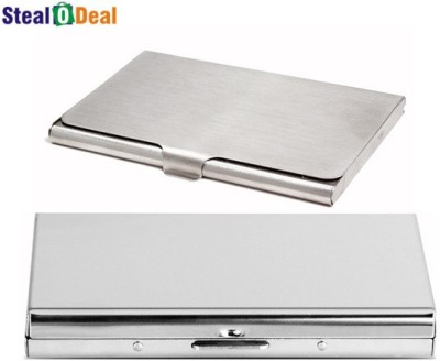 Stealodeal Aluminum Silver Pocket Business Atm Case Metal Box With Steel 6 Card Holder
