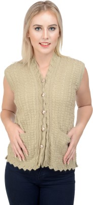 NumBrave Women's Button Self Design Cardigan