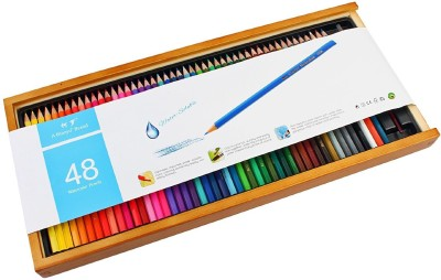 Bianyo Artist Quality Watercolor 48 Pencil Set with Free Blending Brush in Wooden Case Hexagonal Shaped Color Pencils