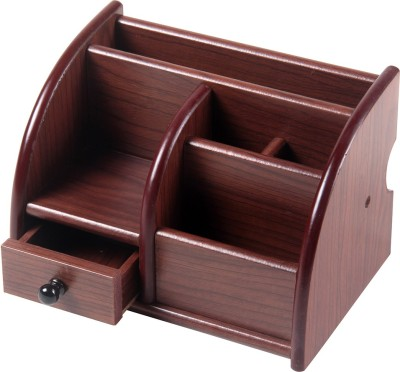 Fab Handicraft 6 Compartments WOODEN PEN AND MOBILE HOLDER