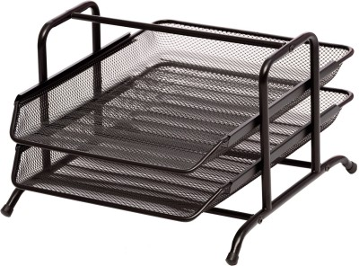 Chrome 2 Compartments Metal Mesh Document Tray