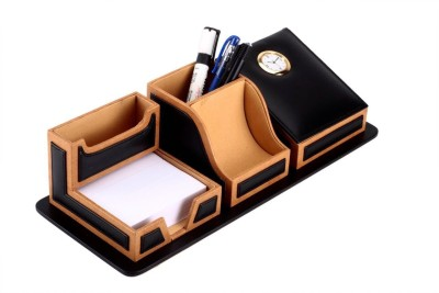 SAW LEATHER GOODS 6 Compartments Leatherette Desk Orzanizer with a clock