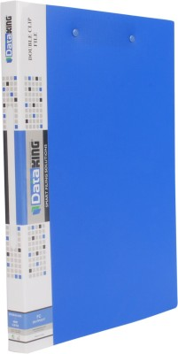 DataKing Polypropylene DOUBLE CLIP FILE (PUNCHLESS LONG + SHORT), Set Of 3, Free Delivery, Size: FC, Color: Blue.
