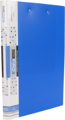 DataKing Polypropylene DOUBLE CLIP FILE (PUNCHLESS LONG + BOARD CLIP), Set Of 3, Free Delivery, Size: FC, Color: Blue.