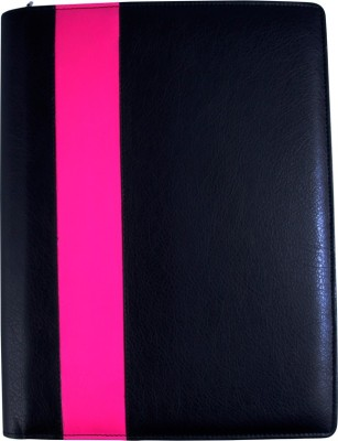 COI faux leather BLACK AND PINK CONFERENCE/DOCUMENT FOLDER