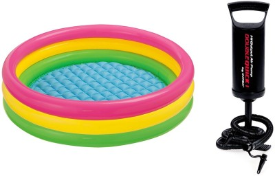 Intex Hand Air Pump With 3ft Round Glow Baby Inflatable Pool, Pool Accessory