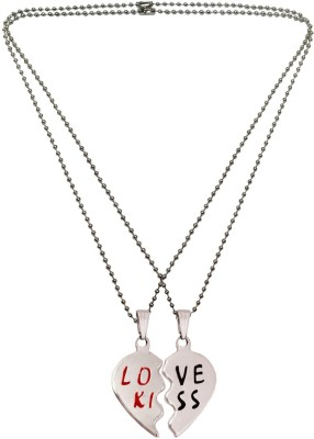 Menjewell Heart Jewellery Collection One For Me One For U Love Kiss Broken Heart Rhodium Alloy Pendant