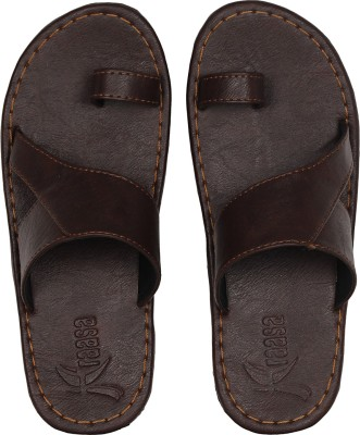 Kraasa Men Synthetic Leather Chappal (Brown) Slippers