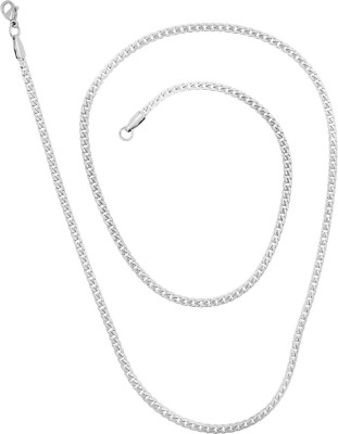 Saizen Rhodium Plated CH184 Chain For Men And Boys Rhodium Plated Stainless Steel Chain