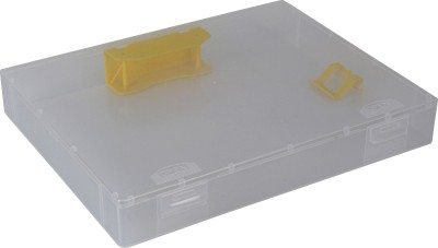 Pinzo 1 Compartments Plastic Transparent Paper Document Box with 2-Hole Filing Mechanism