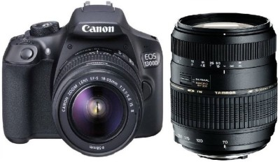 Canon 1300D DSLR Camera Body with Dual Lens: Canon EF-S 18-55 IS II + Tamron AF 70-300 mm F/4-5.6 Di LD Macro Lens (16 GB SD Card + Camera Bag)