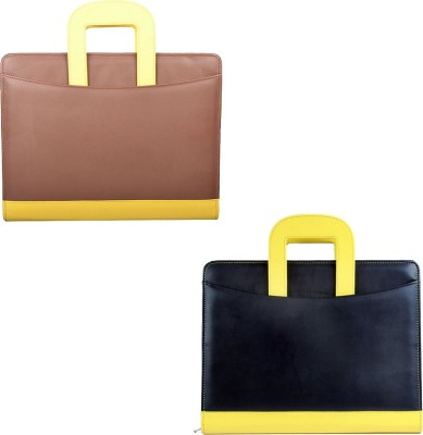 COI Faux Leather Glossy BROWN/YELLOW AND BLACK/YELLOW File Folder / Document Folder