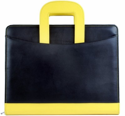 COI Faux Leather Fashionable Black And Yellow File Folder/ Document Folder