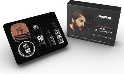 THE REAL MAN Essential Beard Grooming Kit. A Beard Oil, Wash, Softener, Balm & Comb Set For Men. Proudly Made in India by THE REAL MAN
