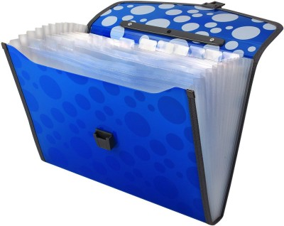 TRANBO Polypropylene Polka Dots Plastic File Folder with 13 Pockets, Handle, Index Tab, A4 Size, Blue