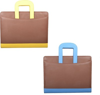 COI Faux Leather BROWN/YELLOW AND BROWN/BLUE File Folder / Document Folder
