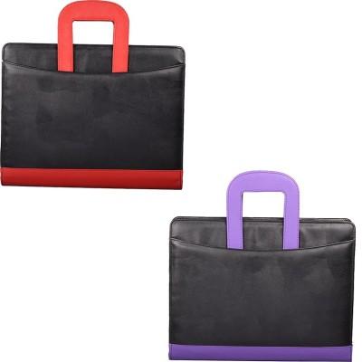 COI Faux Leather Modish BLACK /PURPLE AND BLACK /RED LEATHERITE FILE FOLDER AND RESUME FOLDER