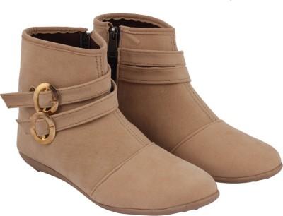ABJ Fashion Double Buckle Women's Stylish Beige Boots For Women