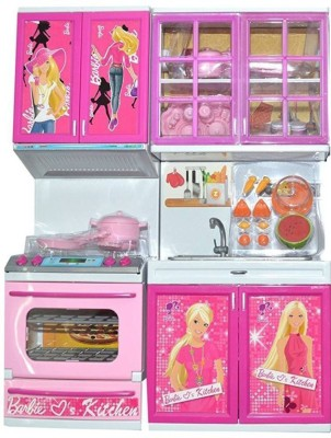 PRESENTSALE 2 fold barbie Doll House Kitchen set for kids with light music