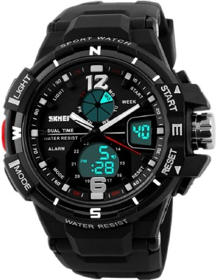 Skmei Dual Time Multifunction Black Bazel S-Shock Watch  - For Men