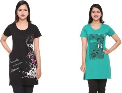 In Love Graphic Print Women Round Neck Black, Green T-Shirt