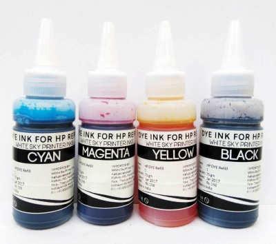 White Sky Refill Ink for HP Cartridges 802, 678,901,818,21,22,680,27,703,704,803,685,862,920,808,960 - 300ml with 4 Syringes Multi Color Ink