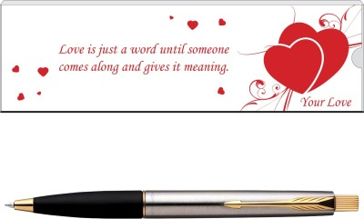 Parker Frontier Valentine's-Day Special Stainless Steel-Gold Trim, Ball Pen