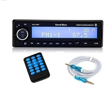 Sound Boss SN-2124BT Bluetooth Wireless Phone Caller Id Receiver Car Media Player with SoundBoss Premium Aux-Cable 3.5mm Car Stereo