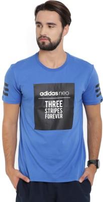 ADIDAS Printed Men's Round Neck Blue T-Shirt