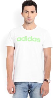 ADIDAS Solid Men's Round Neck White T-Shirt
