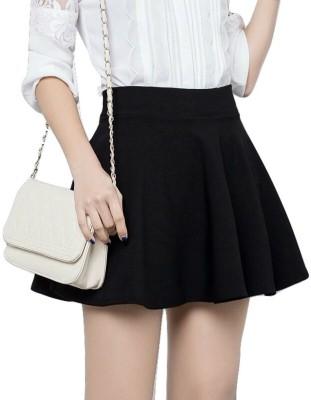 Magnus Solid Women A-line Black Skirt