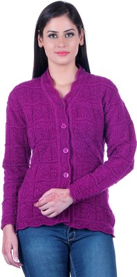 eWools Solid V-neck Casual Women Purple Sweater