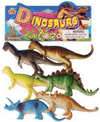 Red Rock Dinosaurs Animals Plastic Toys for Kids ( 6 Pcs. Pack ) (Multicolor)