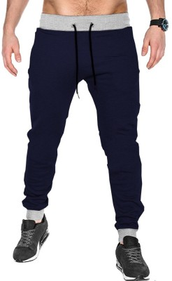 Tripr Solid Men Dark Blue Track Pants