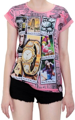 Glasgow Casual Short Sleeve Printed Women's Multicolor Top