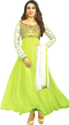 Reya Poly Georgette Embroidered Gown/Anarkali Kurta & Bottom Material