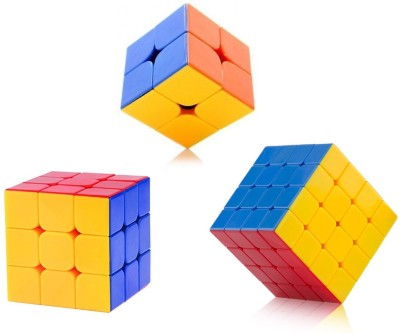 Emob High Speed Stickerless 2x2 , 3x3,& 4x4 Magic Rubik Cube Combo Set Of 3 Puzzle Brainstorming Game Toy